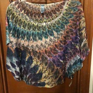 Rainbow feather poncho